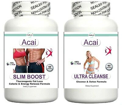 2x T5 Acai Fat Burner Colon Cleanse Weight Loss Slimming Aid Diet Pills Tablets
