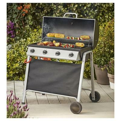 Barrel 4 Burner Gas Barbecue Steel Wire Cooking Grill & Warming Rack 2 Wheels