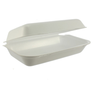 HB10 Food Take Away Large BURGER BOX Foam polystyrene CONTAINERS x 50 White