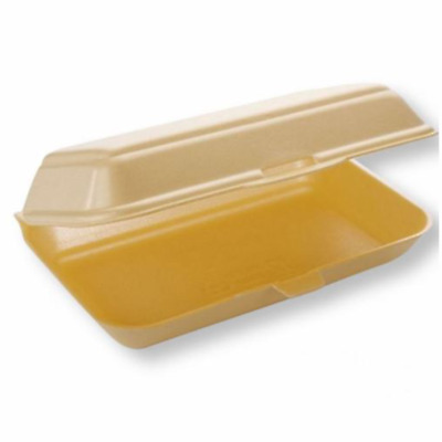 HB10 Food Take Away Large BURGER BOX Foam polystyrene CONTAINERS x 50 Gold