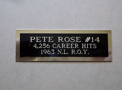 """Pete Rose Nameplate For A Signed Baseball Ball Cube Or Card Plaque 1"""" X 3"""""""