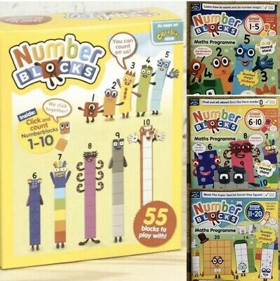 Original Cbeebies Number Blocks 1-10 With 3D Face Stickers, 🥳🤩