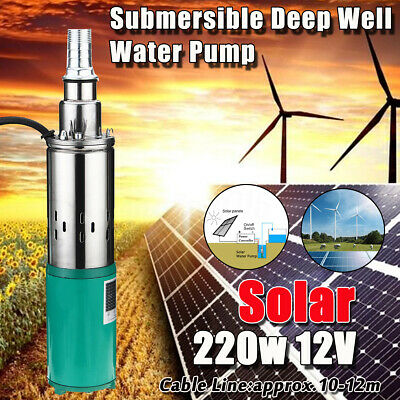 220W 15M Electric Solar Farm Water Pump Hole Well 1.2m³/h Garden Submersible