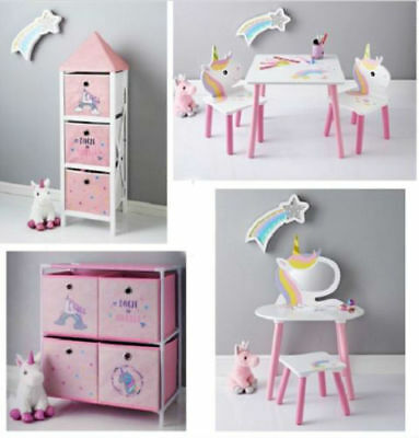 Kids Home Bedroom Unicorn Furniture Sets/ VANITY SET/TABLE,CHAIR SET/STORAGE