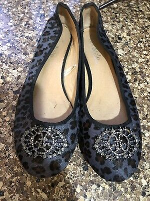db13bc85f0ba Womens fibi & clo Blue Black Brown Leopard Print Ballet Flats Shoes Size 9.5