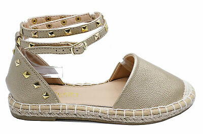 Womens Gold Flat Slip-On Summer Strappy Espadrille  Pumps Sandals Shoes Uk 3-8