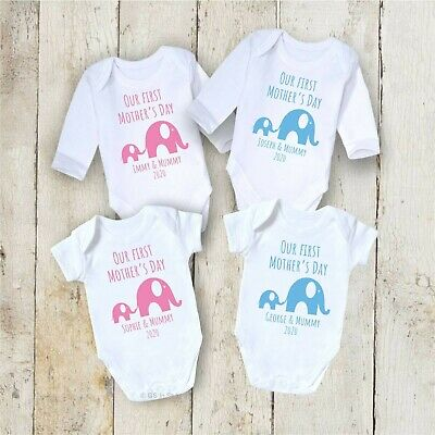 Personalised Our 1St Mothers Day Bodysuit Baby Grow Vest Mummy Present Gift