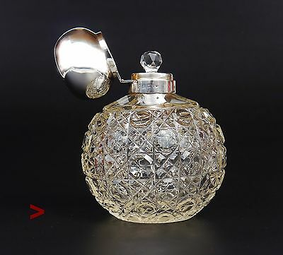 Antique British Perfume Bottle Sterling Silver Crystal Glass / 476g