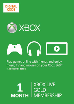 1 month Xbox One 360 Live Gold Membership Digital Codes Fast Email Delivery