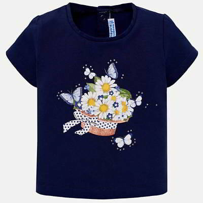 Mayoral Infant Girls Short Sleeved T-Shirt In Navy (01014-015) Aged 18,24,36 Mth