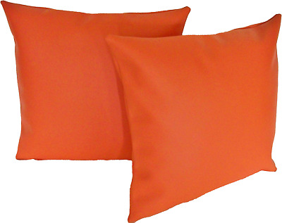 """2 Orange Faux Leather Classic Cushion Covers 16"""" 18"""" 20"""" Scatter Pillows"""