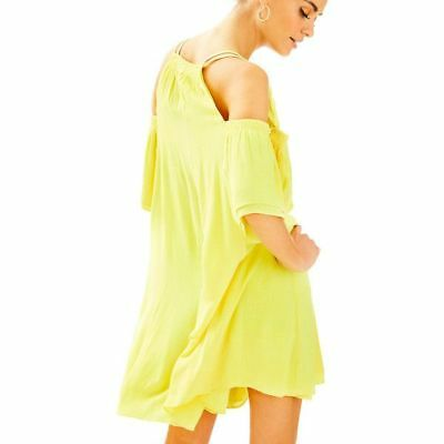 87e6e463776 Lilly Pulitzer Bellamie Yellow Woven Crinkle Sunny Shoulders Dress S; NWT  $198