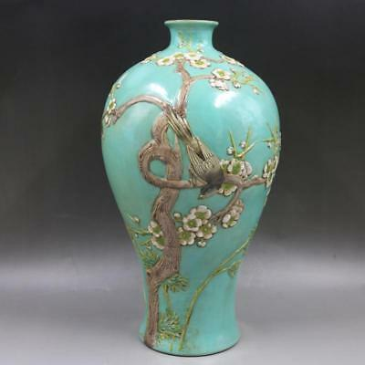 Chinese Old Marked Green Glaze Tricolor Relief Pie On Plum Porcelain Prunus Vase