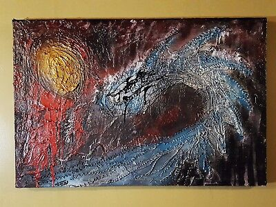 Dragon Art Textured Painting Blue Painting Abstract Art