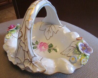 Vintage German Porcelain Raised Design Applied Flowers Handled Bowl