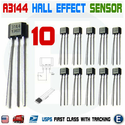 10pcs A3144 A3144E OH3144E A1044 Hall Effect Magnetic Sensor Switch Arduino