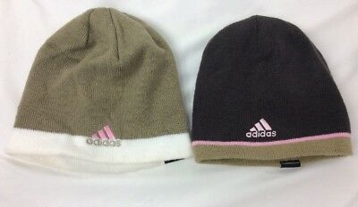 Adidas Reversible Climawarm Pink Brown Knit Beanie Ski Hat Womens Lot Of 2 97859f33461