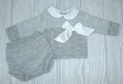 Baby Boys Spanish Knitted Jumper /& Jam Pants Outfit Suit Blue Bow Romany Set NEW