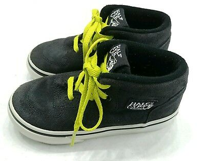 7e8b925ad5 Vans Half Cab Skate Shoes black suede neon green laces Toddler size 7