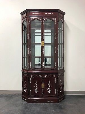 Chinese Rosewood Mother of Pearl Inlay Lighted China / Curio Cabinet