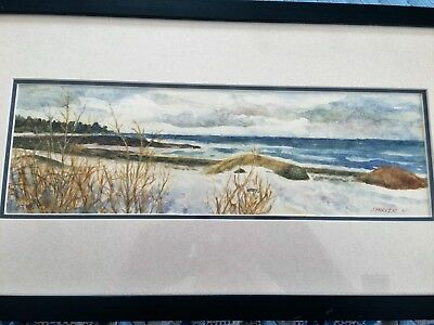 "Jean Parker Original Watercolor. ""Winter On The Shore"" Matted & Framed 20x11"