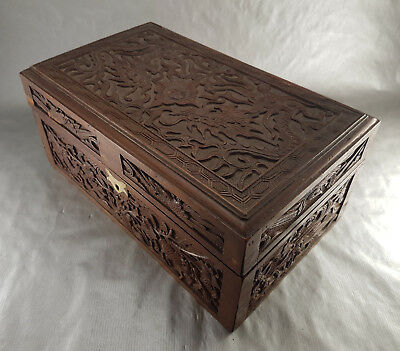ANCIENNE GRANDE BOITE en BOIS SCULPTE CHINE VIETNAM - wood carved box chinese