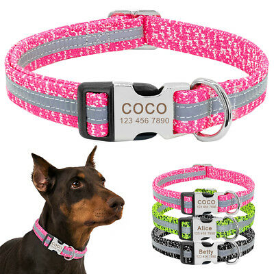 Reflective Personalized Dog Collar Custom Engraved Nylon Collar & ID Name Tag