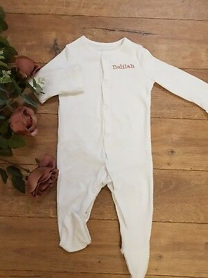 white personalised baby boy girl sleepsuit unisex baby grow 3-6 month all in one