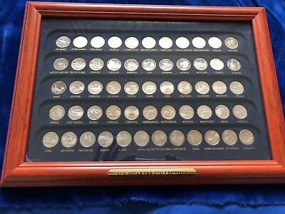 United States Quarters Mint Unc Collection 56 States S Proof Set With Wood Frame