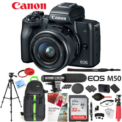 Canon EOS M50 Mirrorless Digital Camera + 15-45mm Lens Microphone Bundle Black