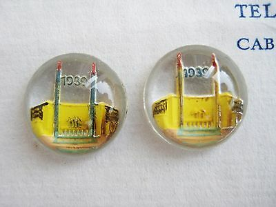 Vintage Antique 1939 World's Fair Glass Buttons Ornaments Pair Jewelry RARE