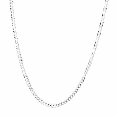 """10K Solid White Gold Mens Womens 3mm Curb Cuban Chain Link Pendant Necklace 20"""""""