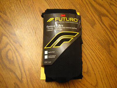 1 Pair Futuro Opaque Tights Black Large Moderate Compression 15-20mmHg NEW