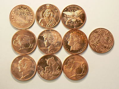 Copper Bullion 1 OZ Coins Lot of 10 Different .999 Pure Rounds #2583