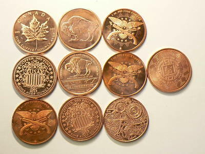 Copper Bullion 1 OZ Coins Lot of 10 Different .999 Pure Rounds #2582