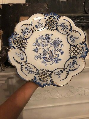 Antique French Gilt Porcelain Reticulated Stand Centerpiece Cake Dessert Dish