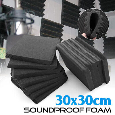24 Pack Acoustic Foam Panel Studio Soundproofing Tiles 12''X12''X1'' Black Decor