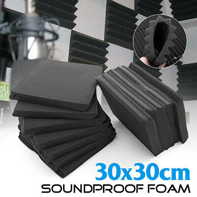 48 Pack Acoustic Foam Panel Wedge Studio Soundproofing Tiles 12''X12''X1'' Black