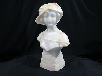 Antique VICTORIAN ALABASTER MARBLE BUST OF YOUNG WOMAN - 13 1/2""