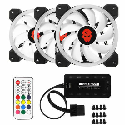 3x 120mm 12V Computer Case PC RGB LED Cooling Fan Quiet Cooler + RGB Controller