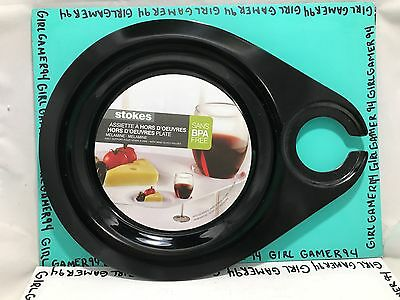 Set Of 2 Stokes - Melamine Plate Wine Glass Holder - Party Appetizer Plate Wine