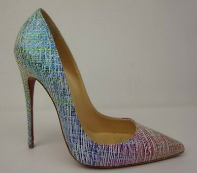 b2287a072180 Christian Louboutin So Kate 120 mm Striped Glitter Red Blue Pumps Heels Size  37