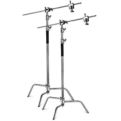2pcs Heavy Duty 10ft Adjustable Light Stand w/ 4ft Holding Arm and Grip Head Kit