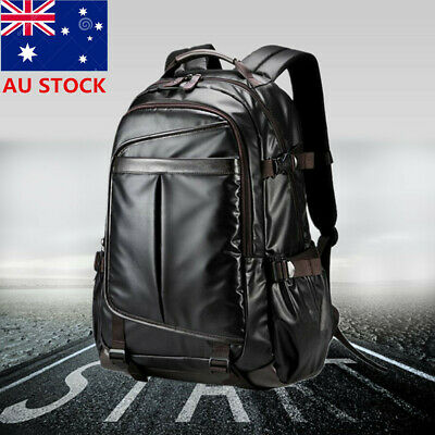 Black Men Leather Backpack Large Laptop Breathable School Shoulder Travel Bags