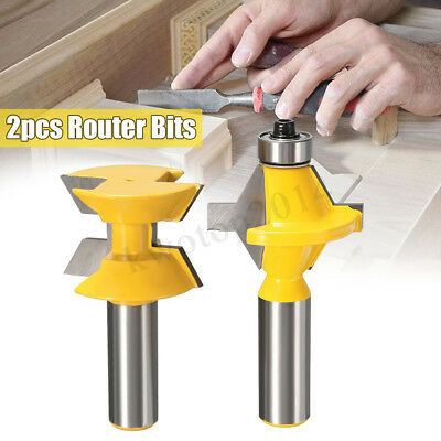 "2X 120° DEG Matched Tongue & Groove Router Bit 1/2"" SH Woodworking Edge Banding"