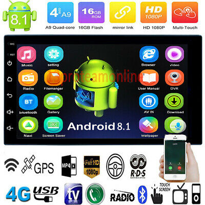 7In 2Din Touch Car Stereo MP5 Player Android 8.1 Quad-Core WiFi BT4.0 GPS Navi