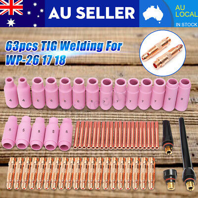 63Pcs TIG Consumables Nozzle Cups Collets Kit Set For Welding Torch WP-26 17 18