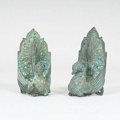 Set of 2 Antique Bronze Buddhist Peacock Bird Door Handles Aged Green Patina