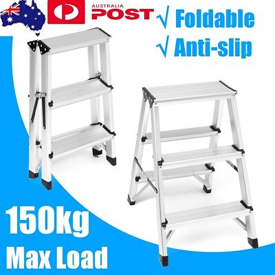 AU 3 Step Double Sided Big Top Aluminium Frame Foldable Ladder 150kg 59cm