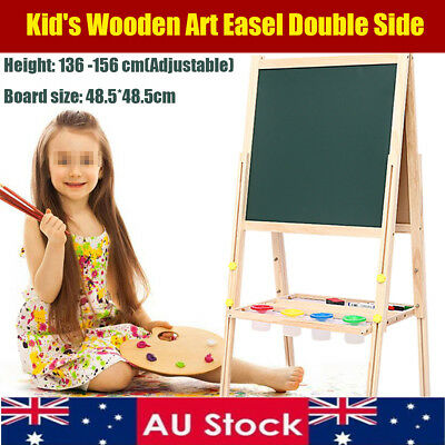 5 in 1 Stand Wooden Blackboard Art Easel Drawing Magnetic Double Sided Children
